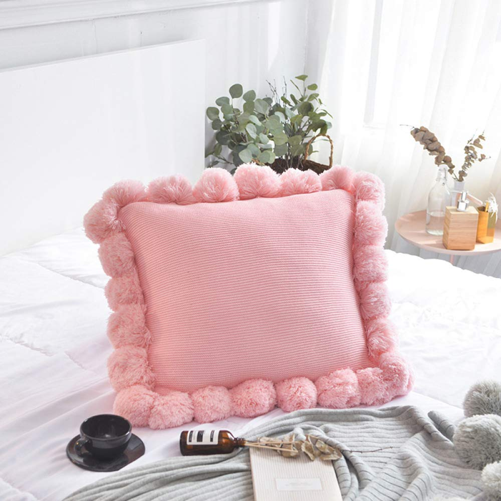 FASTCXV Simple Nordic Creative Solid Color Cotton Sofa Cushion Office Lunch Break Knit Blanket Ball Pillow Cushion Cotton Ball Pillow - Girl Powder 4545cm by FASTCXV
