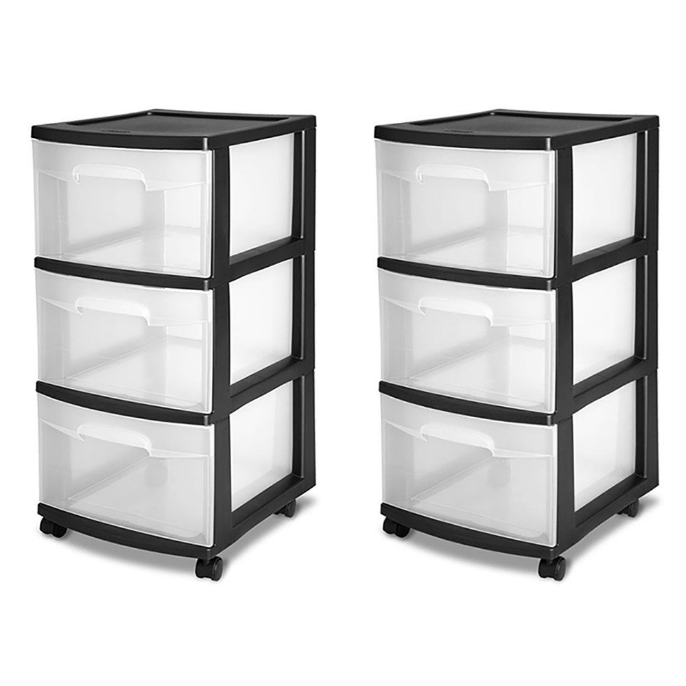 STERILITE 3-Drawer Storage Cart, Clear with Black Frame (2-Pack)   2 x 28309002 by STERILITE