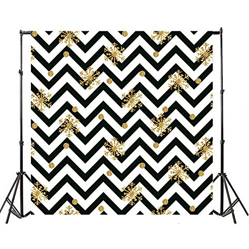 Yeele 10x10ft Black And White Wave Stripe Photography Background Vinyl Golden Snowflake Abstract Pattern Striation Design Photo Backdrop Baby Shower Girl Child Birthday Party Video Shoot Studio Prop