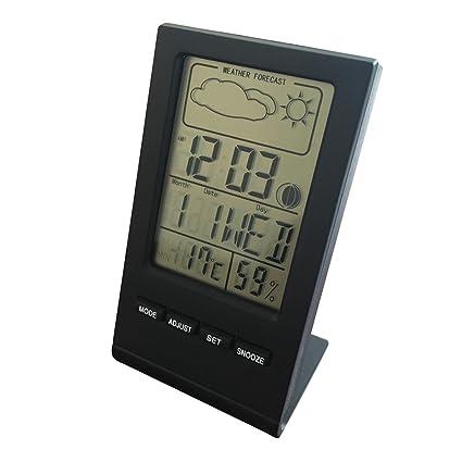 STRIR Multifuncional Termómetro e Higrómetro Digital Con Pantalla LCD Medidor Temperatura y Humedad con Alarma Reloj