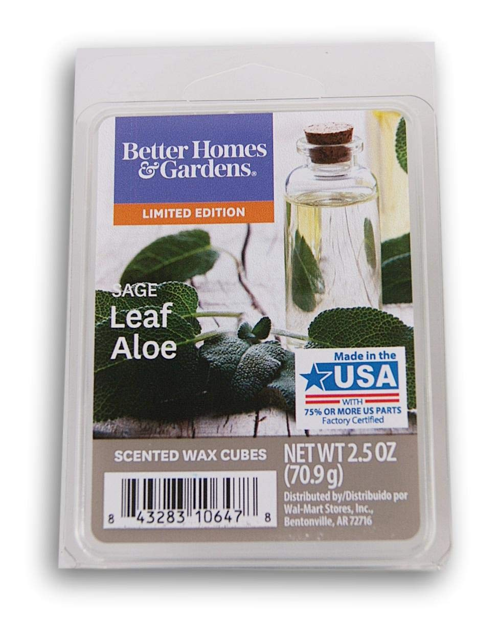 Better Homes /& Gardens Sage Leaf Aloe 2019 Edition Wax Cubes Better Homes and Gardens