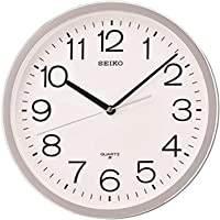 SEIKO QXA014SLH Classic Numbered Wall Clock with Quiet Sweep, Silver