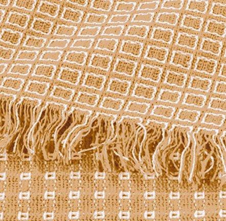 """Homespun 52""""x52"""" Ecru/Linen Check Woven Reversible Tablecloth"""