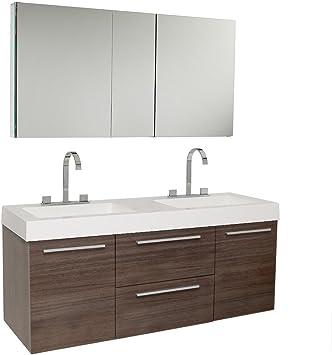 Fresca Opulento Gray Oak Modern Double Sink Bathroom Cabinet with Integrated Sinks