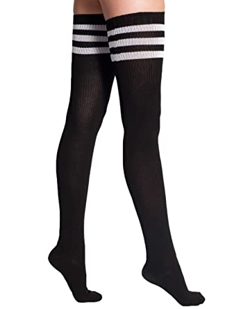 0cab74985ba American Apparel Stripe Thigh-High Socks - Black   White   One Size   Amazon.co.uk  Clothing