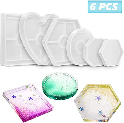 5 Pack Resin Silicone Molds with 5 Different Shapes for DIY Coaster Craft Making