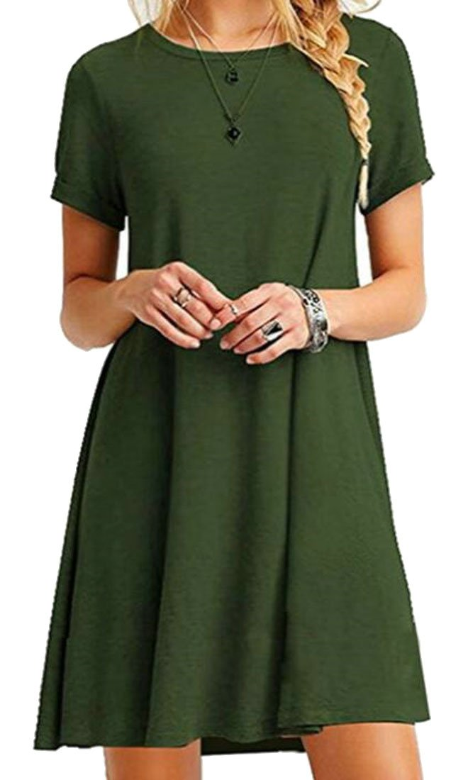 KLJR-Women Short Sleeve Casual Round Neck A-line Solid Dress Green US L