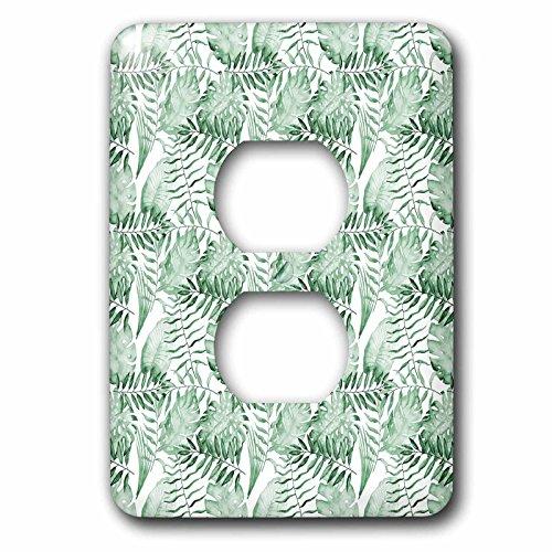 3dRose LSP_270988_6 - Cubierta de salida para enchufe, diseño de hojas de acuarela tropicales, color verde