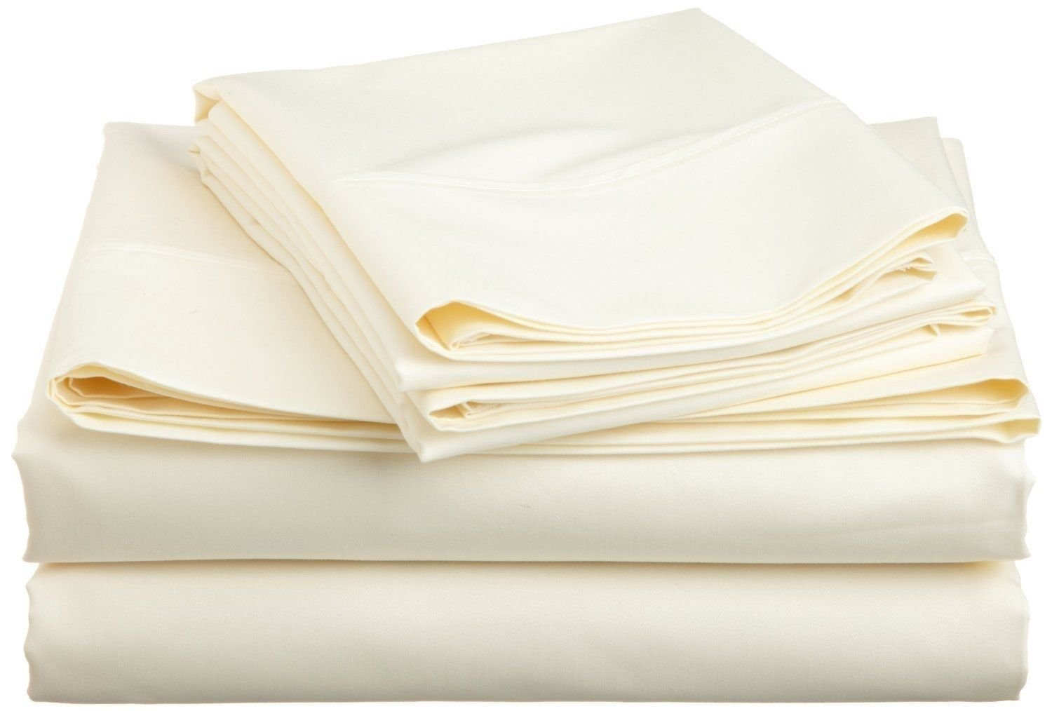 Hotel Quality JB Linen 500-Thread-Count Pure Egyptian Cotton Super Soft 1 PC Flat Sheet/Top Sheet California King Solid Ivory With Wholesale Price