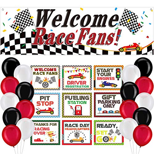40 Pieces Race Car Party Decoration Set Welcome Race Fans Banner and Racing Cutouts and Racing Themed Balloons Race Car Party Suppliers and Favors -