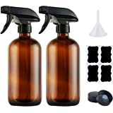 Empty Amber Glass Spray Bottles,Refillable 16 oz Container with Funnel and Labels for Essential Oils, Aromatherapy…