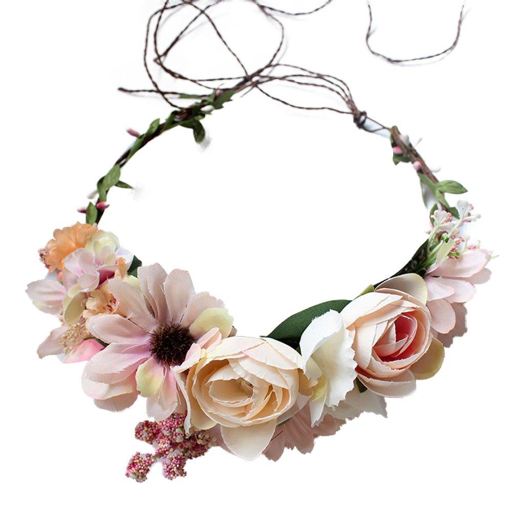 YAZILIND mariage nuptiale fleur couronne guirlande plage rose fleurs bandeau Couronne demoiselle d'honneur coiffure photo props YAZILIND JEWELRY LIMITE 1702T0175
