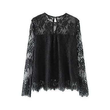 8874e216b43080 Hatoys Women's Ladies Vintage Transparent Lace Shirt Long Sleeve O-Neck  Blouse Tops Tee T