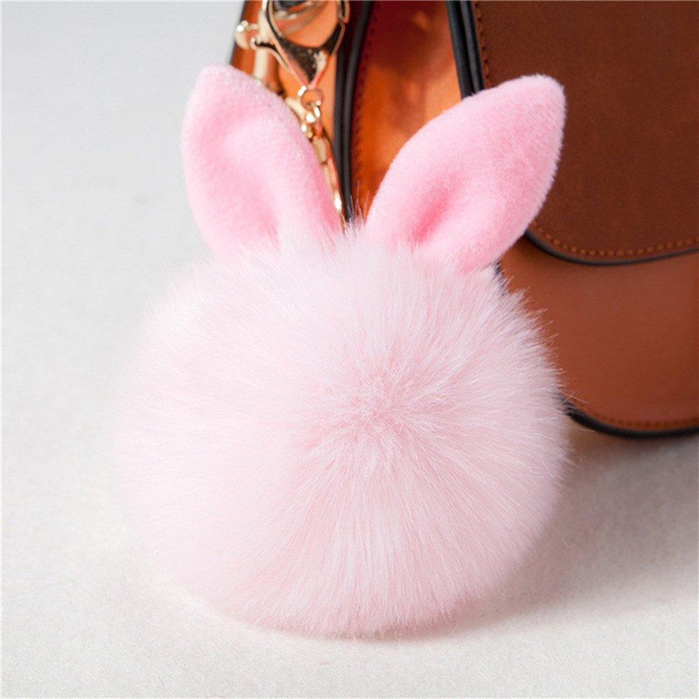 6Pcs Mini Soft Bunny Rabbit Ears Fur Pom Pom Ball Keychain Fluffy Faux Leather Ball for Handbag Pendant Artificial Pompom Key Chain Porte Clef,Pink Color