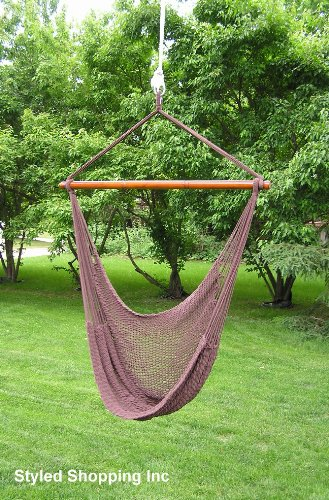 Bon Deluxe Large Dark Brown Rope Hammock Swing Chair Extra Soft Poly Rope