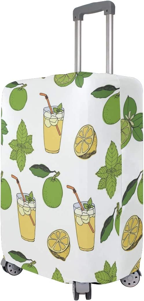 Travel Luggage Cover Lemon Drink Summer Green Leaves Suitcase Protector