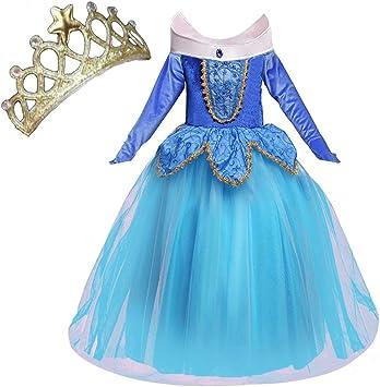 NNDOLL Disfraz de princesa Aurora Sleeping Beauty Dress para Niña ...