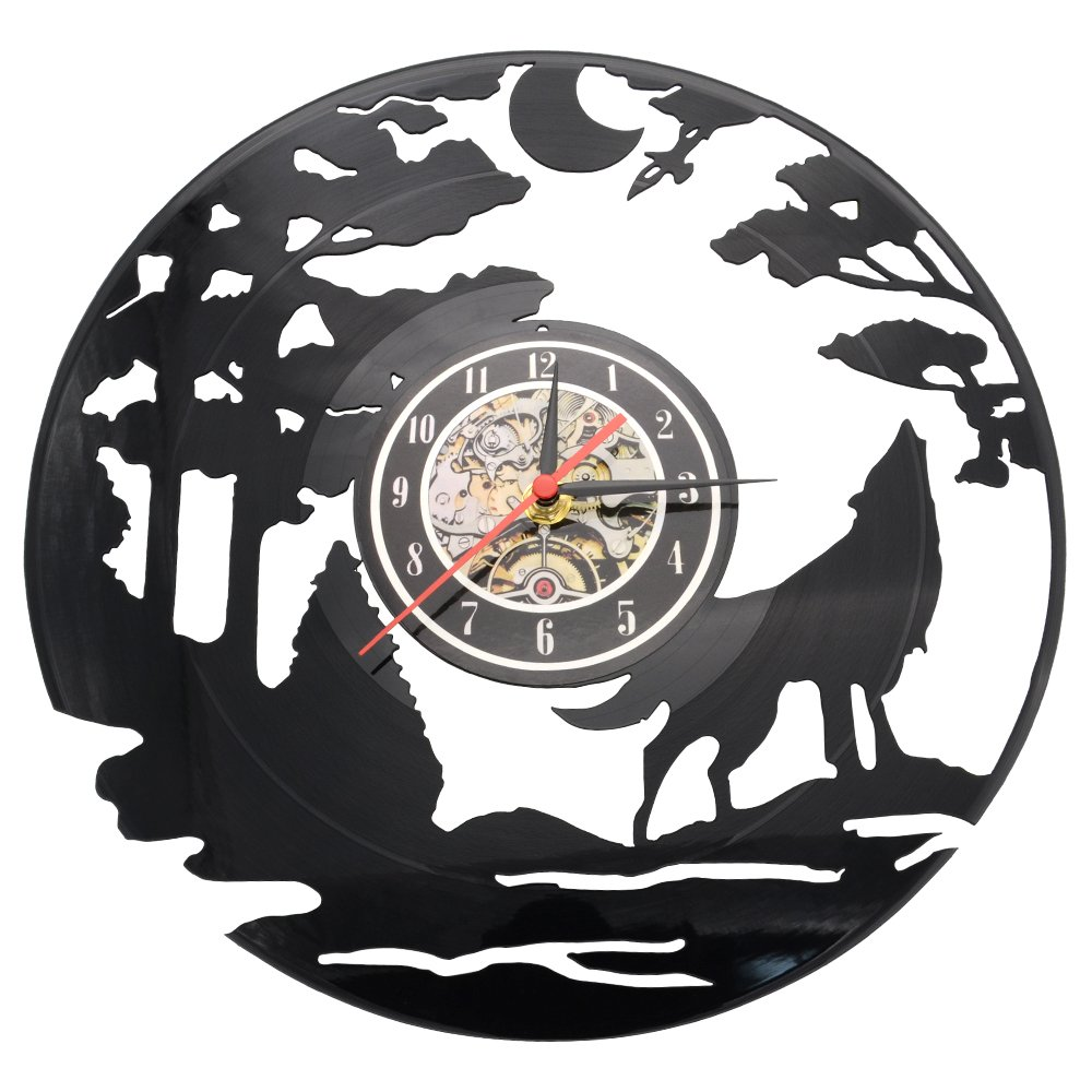 Vinyl Record Clock Wolf Design