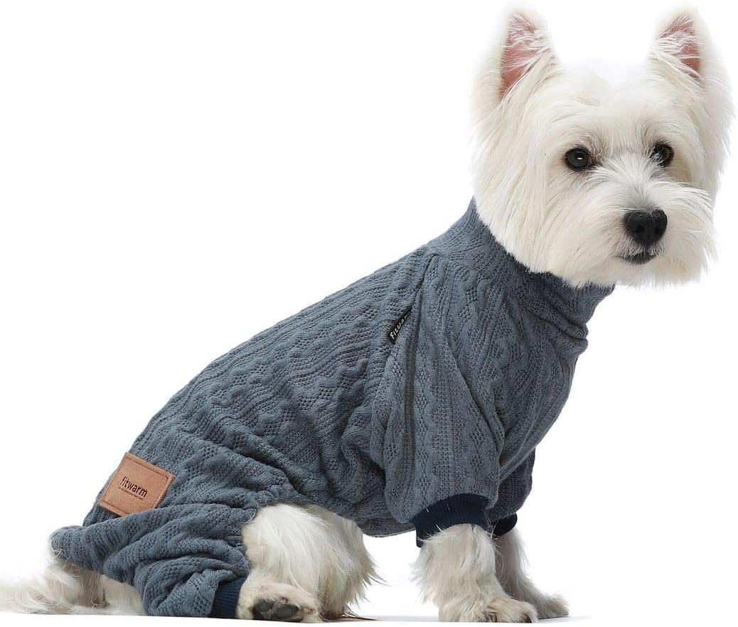 Fitwarm Turtleneck Knitted Dog Sweaters Winter Outfits Pet Coats Cat Clothes Blue XS