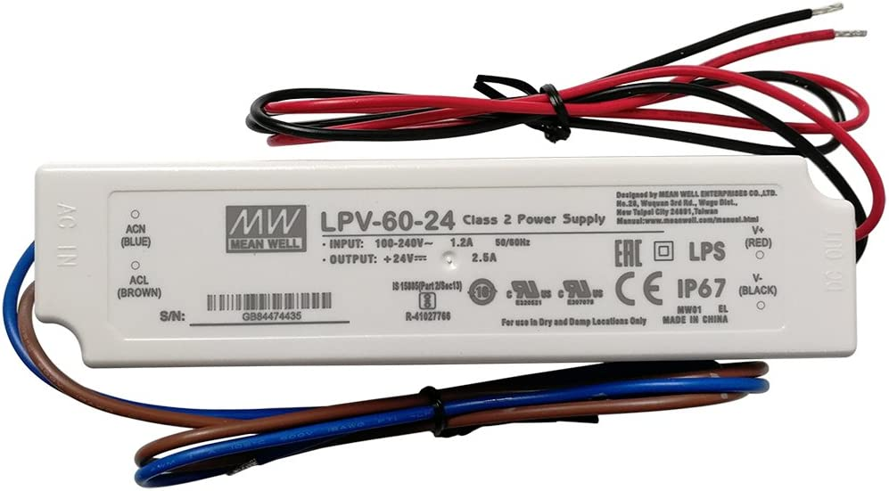 12V MW LPV-60-12 LED Driver Outdoor Waterproof AC-DC 12V 5A Power Supply for LED Sealed Panel Mount LPV Series