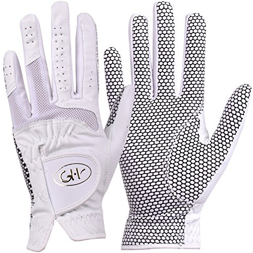 GH Women's Leather Golf Gloves One Pair - Plain Both Hands (White, 19 (S))