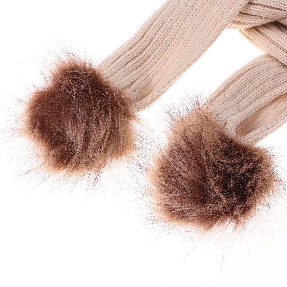Diamondo 2pcs Cute Children Girls Pompom Fleece Hats Scarf Kids Winter Warm Set Gift