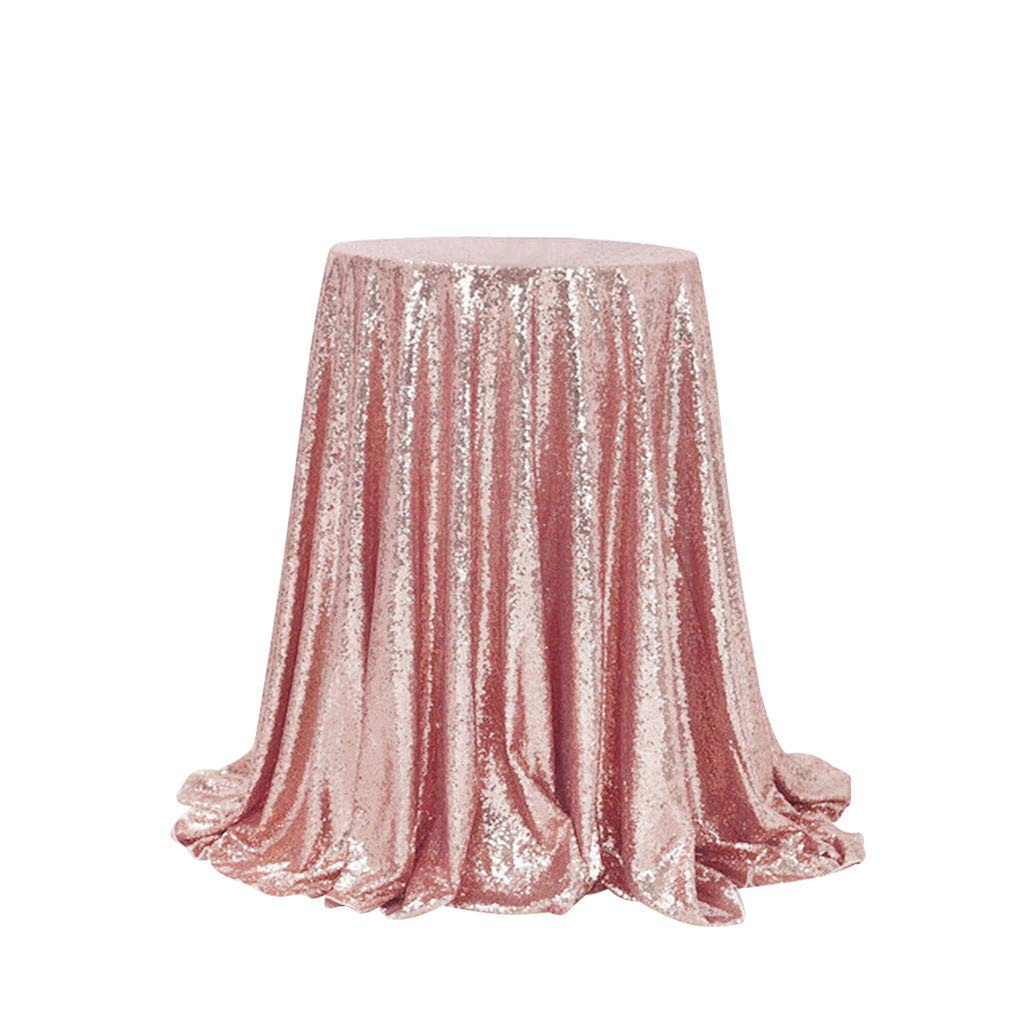 Jeeke Sparkle Round Tablecloth Shining Sequin Dining Table Cover Table Cloth for Wedding Banquets Party Decor, Rose Gold by Jeeke