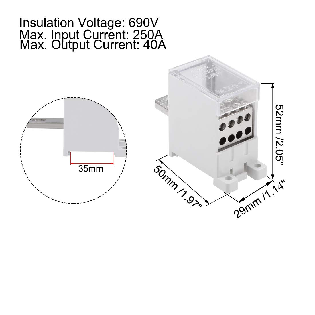 Power Distribution Terminal Block Connector DIN Rail 6-250 AWG 250A 690V