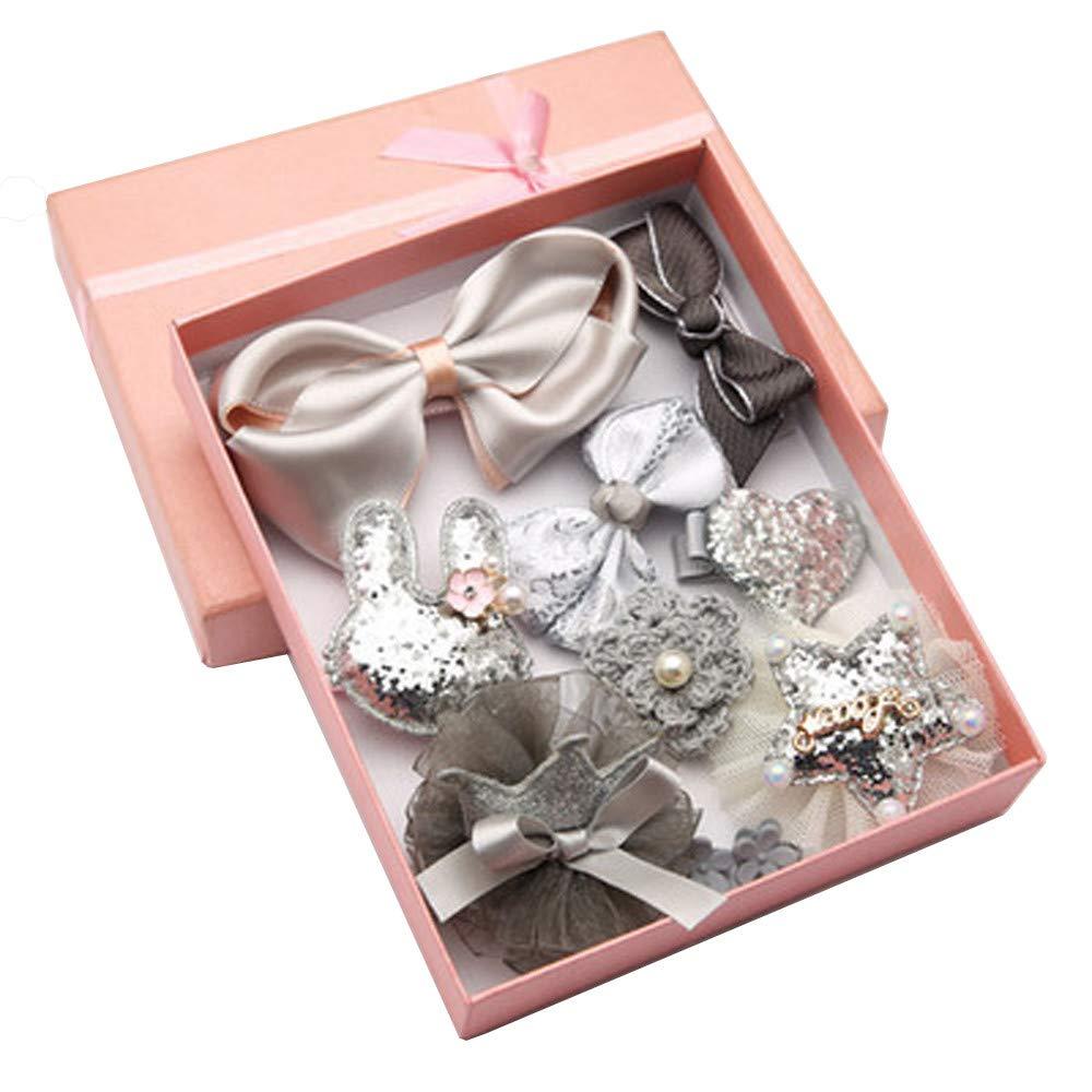 Jaysis 10PCS Girl Bow Pearl Hair Accessories Small Fresh Headwear Set (BU)