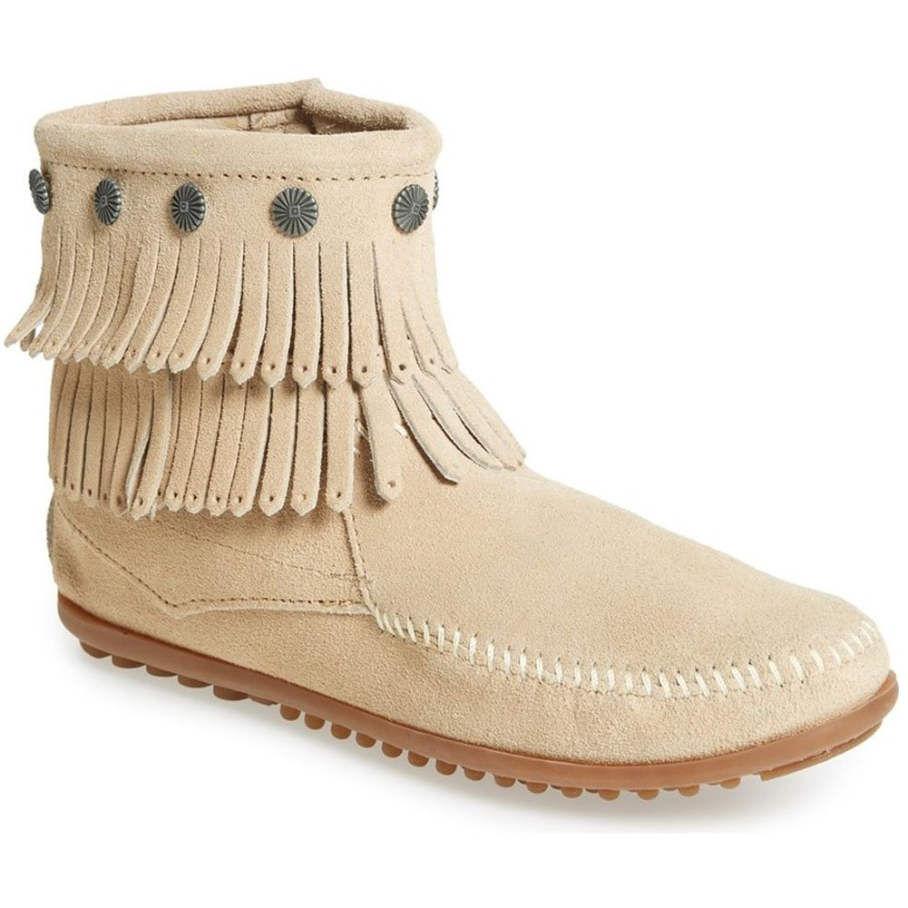 Minnetonka Women's Double-Fringe Side-Zip Boot B013XHWX06 10 B(M) US|Stone