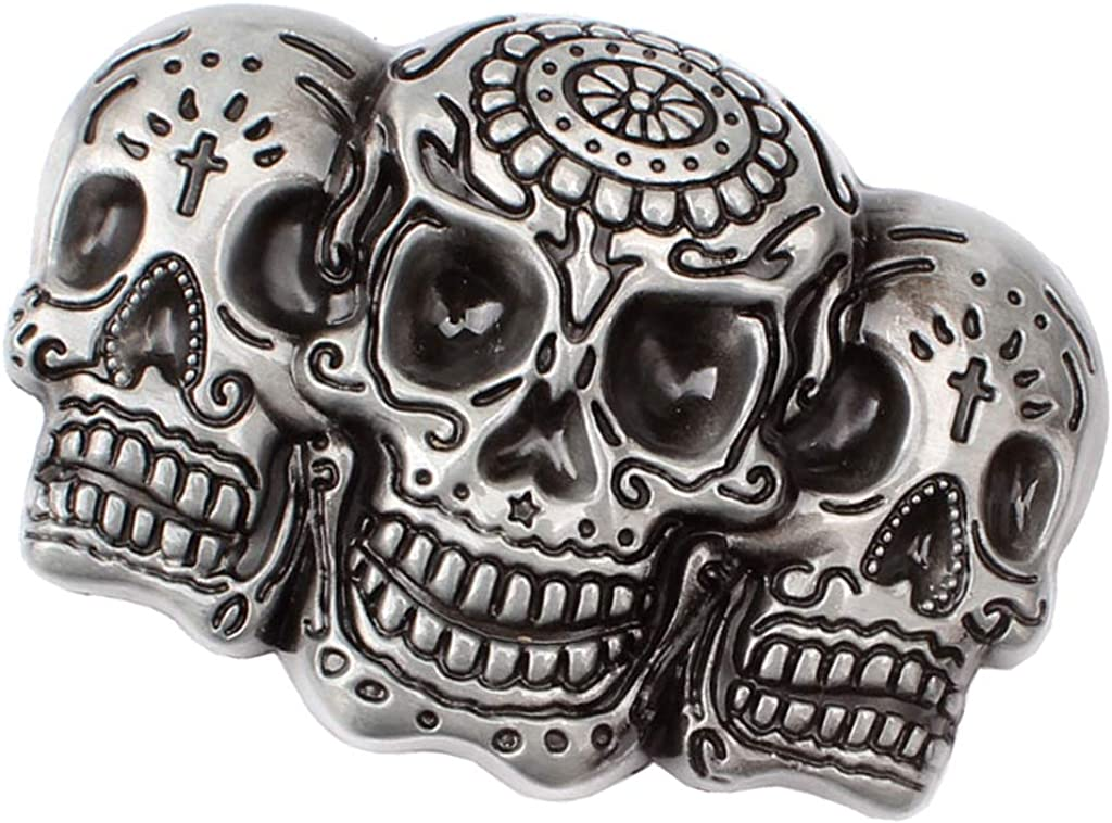 Fashion Gothic Rock Punk 3D Skull Skeleton Head Belt Buckle Men's Accessory