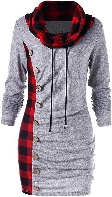 Juleya Mujer Elegantes Vestido Cuello Redondo Vestido Cordón Botón Sudadera Camisa Larga Casuales Blusa Camisetas Sweatshirts Negro/Gris M-XXXL