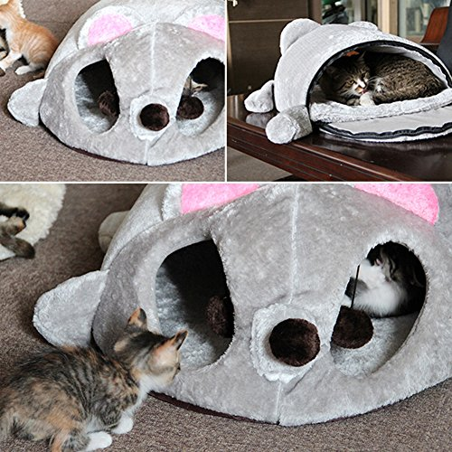 Amazon.com : Yunt Cat Bed Cave Removable Cat House Waterproof Bottom Foldable Mouse-shaped Mini Cat Nest for Small Pets : Pet Supplies