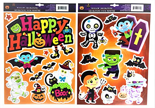 Halloween Window Cling Decorations Bundle| Happy Halloween, Vampire, Mummy, Frankenstein, Ghost, Witch and More| Set of 2 Sheets with a Total of 19 Clings| Great for Kids or Adults -