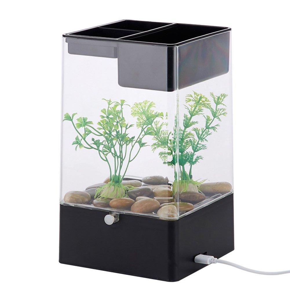 Wilgirl Home Creative Decoration USB Charge Mini Acrylic Fish Tank Desk Transparent Aquarium (Black)