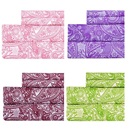 Weavely Paisley Print Best Quality Bedding Sheet Set, Extra Deep Pockets Fitted Sheets, 100% Luxury Super Soft Microfiber Sheet Set, 4-Piece Set - Pink - King