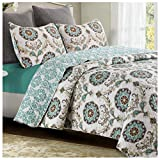 Mikaela Reversible Quilt Set, Contemporary Floral Medallion Pattern, 3-Piece Set with Quilt and Pillow Shams - Full/Queen, Mikaela