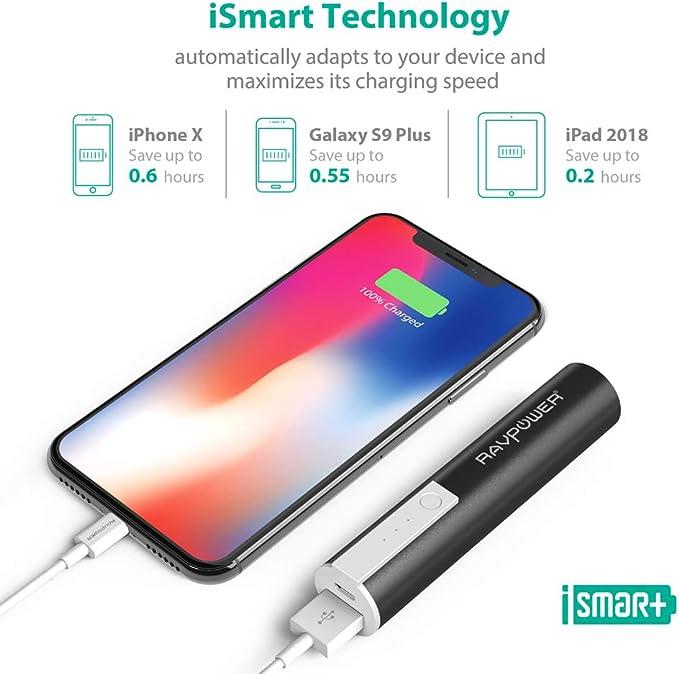 RAVPOWER Cargador portátil, 3350 mAh, batería Externa, Power Bank con Tecnología iSmart, para Smartphones y Otros Dispositivos, Color Negro: Amazon.es: Electrónica