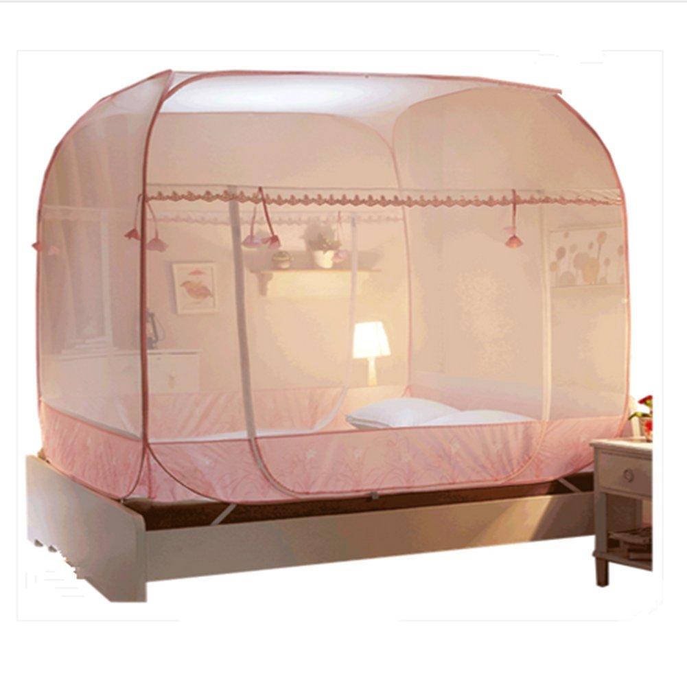 LSS Kostenlose Installation Von Moskitonetzen 1,8 M Bett 2 Doppelhaus 2 Bett Meter 2,2 M Einfache Jurten 1,5 Meter 1,8 X 2,0 M Bett Buch,Rosa,1.22M 468794