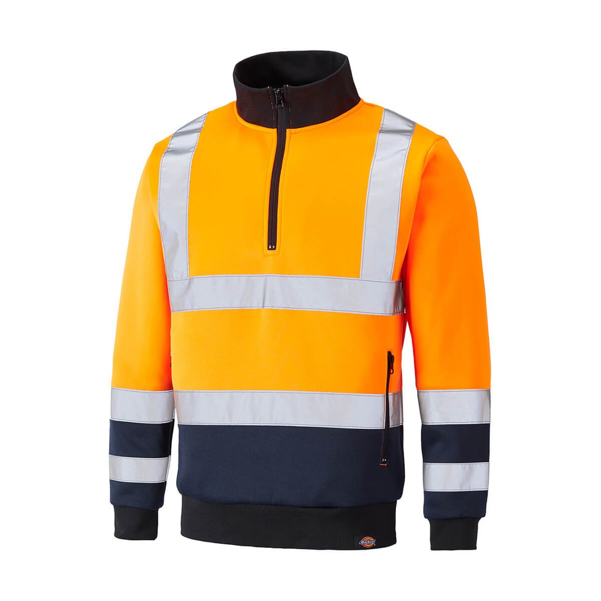 shelikes Mens Long Sleeve Quarter Zip Hi Vis Fleece 2 Two Tone Sweatshirt Jumper Top