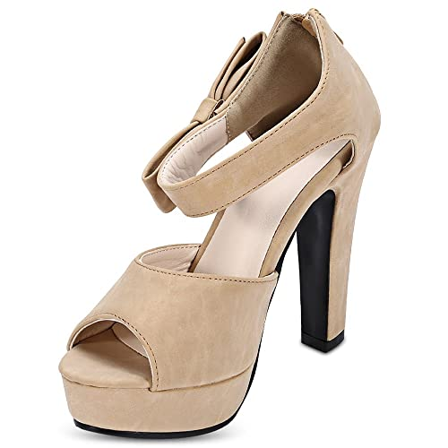 1fd75b840d43 Hannea Peep-Toe Bowknot Platform Thick High Heel Women Sandals  Buy Online  at Low Prices in India - Amazon.in