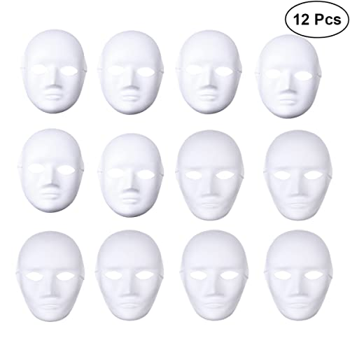 LUOEM 12pcs Full Face Mask Halloween White DIY Dance Cosplay Masquerade Party