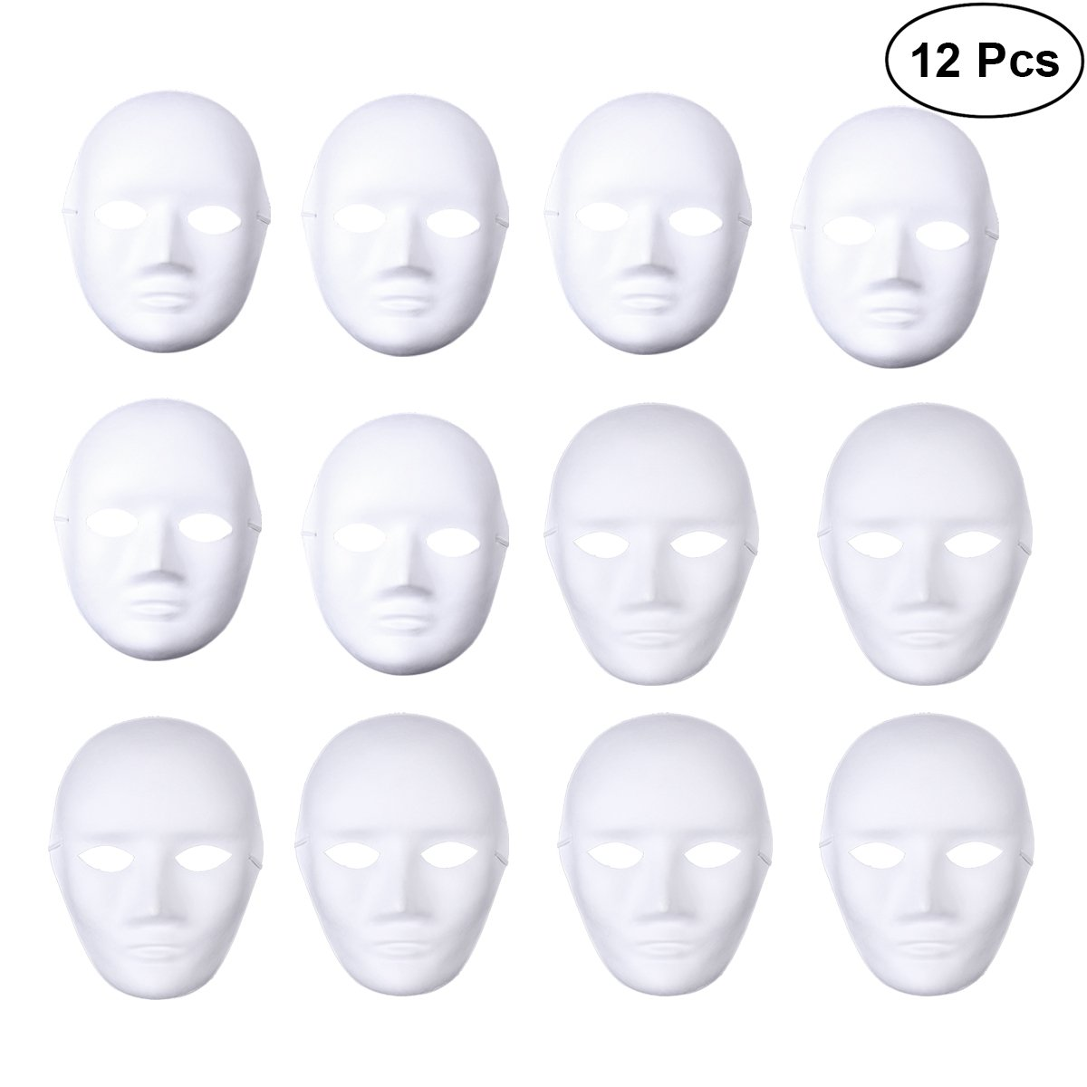 BESTOYARD 12pcs Full Face Mask Halloween Mask White DIY Mask Dance Cosplay Masquerade Party Mask (6pcs Male and 6pcs Female) by BESTOYARD
