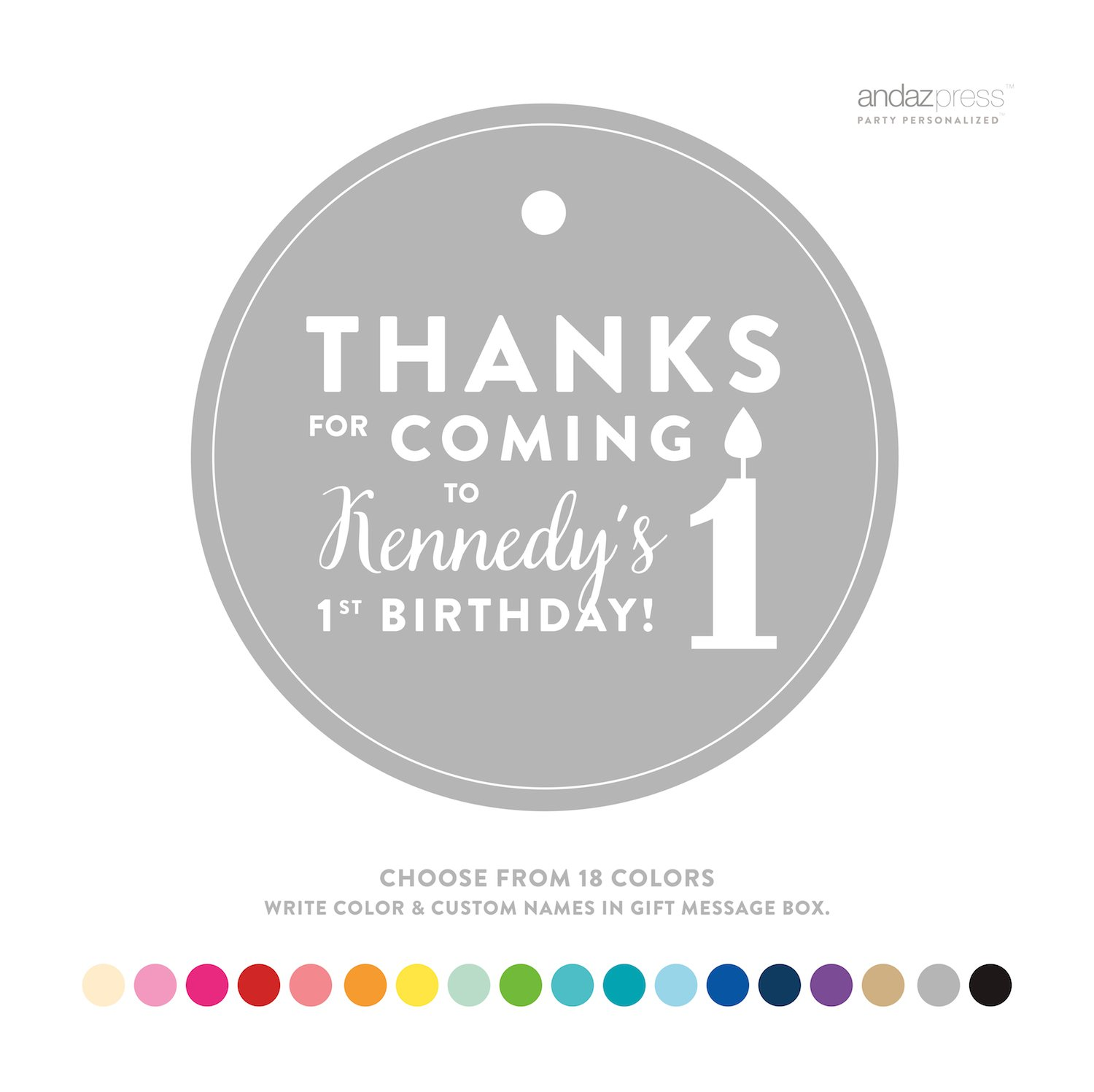 Amazon Andaz Press Personalized Circle Birthday Gift Tags Thanks For Coming To My 1st 24 Pack