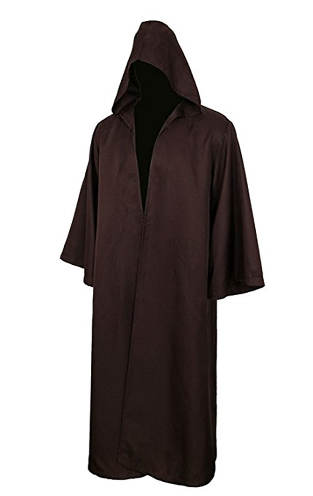 COSFLY Men's Tunic Hooded Robe Halloween Party Cosplay Costume Adult Knight Cool Robe Cloak Cape (XX-Large, Brown)