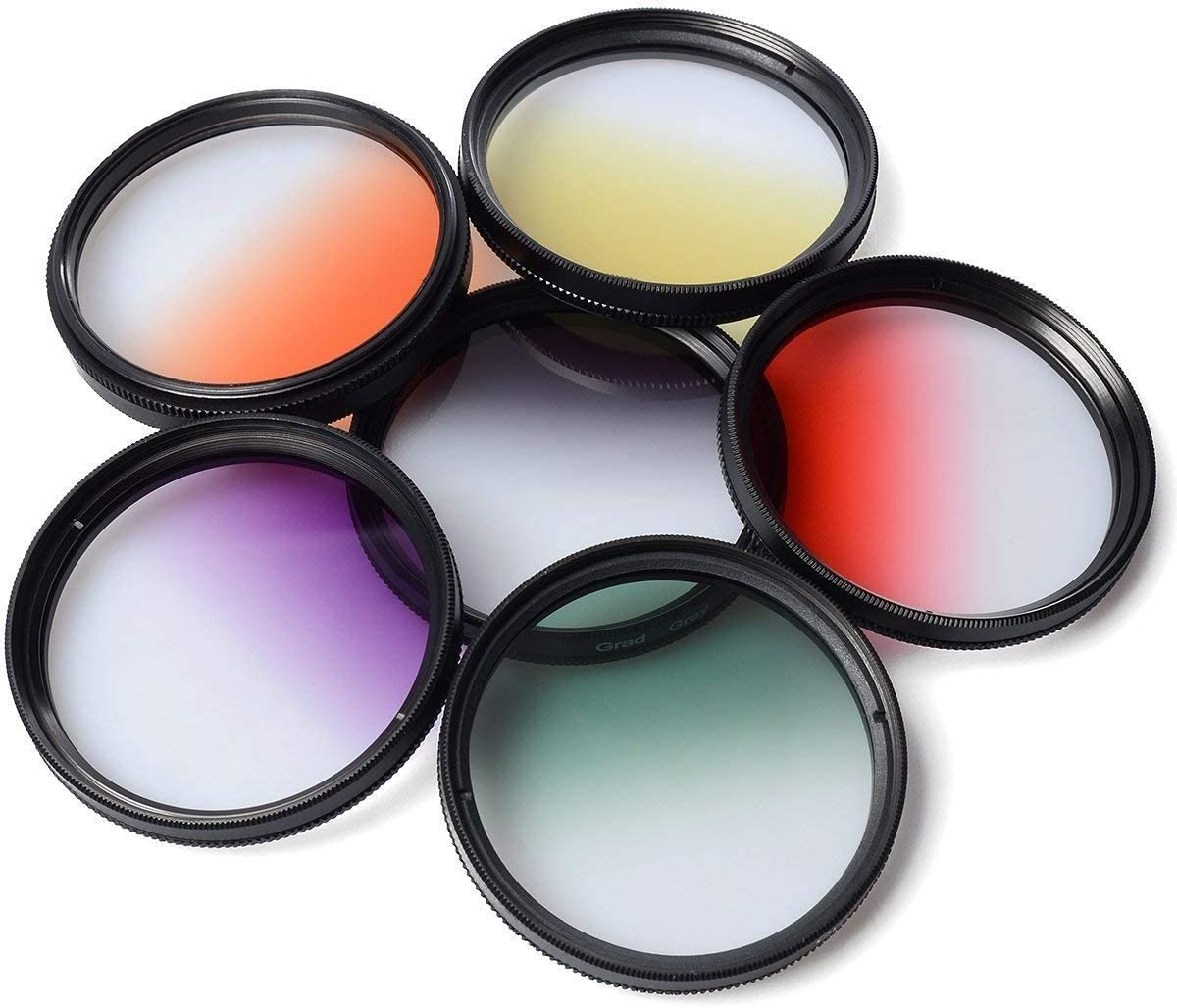 Yunchenghe Set of Color Filters for Camera Lenses Yellow//Gray Blue//Green Purple 72 mm Thread 7 Pieces Includes Orange//Red