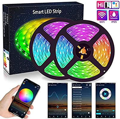 Wifi Led Strip Lights 10m 2x5m Aled Light Rgb Led Strips Lights 5050 Smd 300 2x150 16 Million Colors Sync With Music Ip65 Waterproof Smart Phone App Controlled Led Band Work With