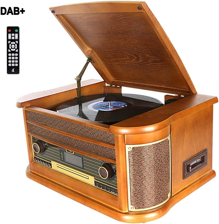 Dab Tocadiscos, DLITIME Record Player con Radio FM/USB/RCA/AUX ...