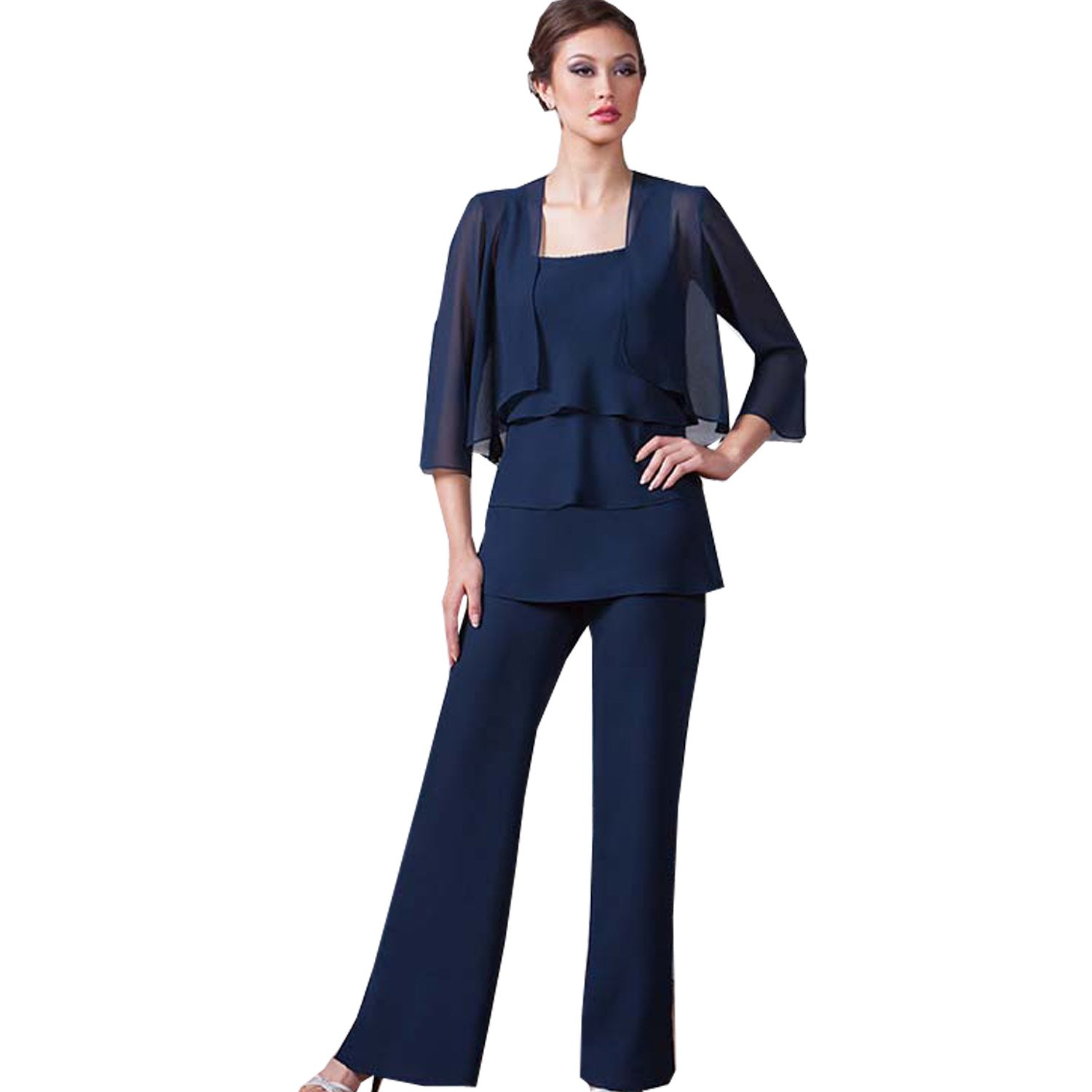 dressvip Spaghetti Strap Sleeveless Dark Blue Chiffon Mother of Bride Coat with Trousers