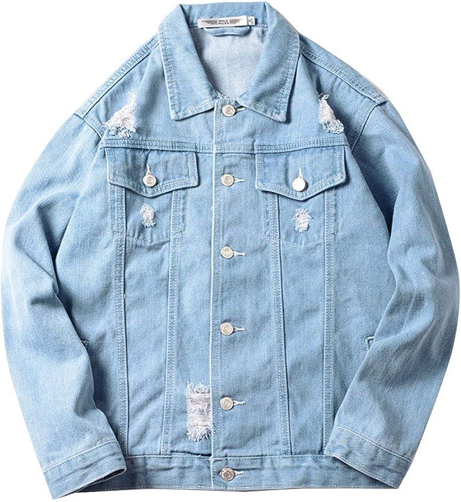 ZIXING Fashion Uomo Giacca Classica di Jeans Vintage Trucker Cappotto a Manica Lunga Taglie Forti